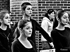 The Mimes (The Bop) Tags: bw white face unsmiling girls guy