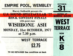 Wishbone Ash 31.10.77 (1978-1987) Tags: concerttickets wishbone ash wembleyarena wembley
