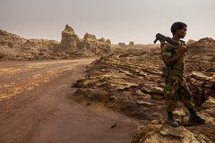 Salt City, Ethiopia (hugemittons) Tags: ethiopia africa hornofafrica danakil dallol afar afarzone colorful colourful martian surreal african ethiopian soldier soldiers army defence military guard infantry security depression