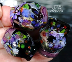 Rocks Night Lilac Enameled (Laura Blanck Openstudio) Tags: openstudio openstudiobeads glass handmade murano lampwork torched beads bead set big artist art arts fine artisan made usa rocks pebbles stones frit whimsical funky odd earthy organic abstract colrful multicolor lilac grape lavender purple violet jewelry published show winner festival italian argentinian gray black blue white enamel orange coral green peach eggplant plum amethyst transparent translucent cobalt red burgundy mauve shiny