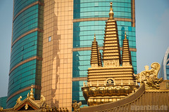 Two kind of Golden Ages (alpenbild.de) Tags: china city church skyscraper nikon shanghai kirche stadt  fullframe fx  hochhaus topaz d800  wolkenkratzer  schanghai vollformat d800e nikond800e