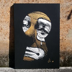 PRIVATE FEELINGS  Handmade canvas 70x100cm (.krayon) Tags: color detail artwork acrylic handmade clown canvas pixel pixelart custom sadclown krayon customcanvas