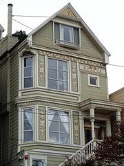 Queen Anne style, Stanyan Street (sftrajan) Tags: sanfrancisco california 19thcentury frieze colevalley sunburst gable victorianarchitecture stanyanstreet 2014 queenannestyle sanfranciscovictorians victoriansanfrancisco