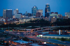 Downtown Kansas City Skyline Aerial (ericbowers) Tags: city urban usa skyline architecture twilight highway downtown cityscape unitedstates dusk citylife aerialview nopeople aerial illuminated mo kansascity missouri transportation freeway expressway roads scenics highrises traveldestinations modeoftransport buildingexterior highangleview downtowndistrict builtstructure