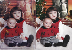 eliama_midlandbeach_20130407_3587_021_RIP_CFSv2_st_splice (CARE for Sandy) Tags: baby siblings infant christmas set studioportrait checks red happy couple duo smiling bigeyes funny c1 1999 1990s 90s c1a hurricanesandy superstormsandy hurricane damaged photoshop restoration photorestoration volunteer charity beforeafter beforeandafter transformation buzzfeed c1b c1p h