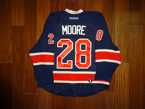 Game Worn Reebok Edge 2.0 Dominic Moore New York Rangers 2013-2014 Heritage  Jersey Back 64a80fa0e