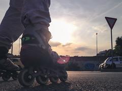 Inline skating at sunset (Iliyan Yankov) Tags: light sunset sports sport closeup skating skate inline workout asphalt inlineskating skates flates