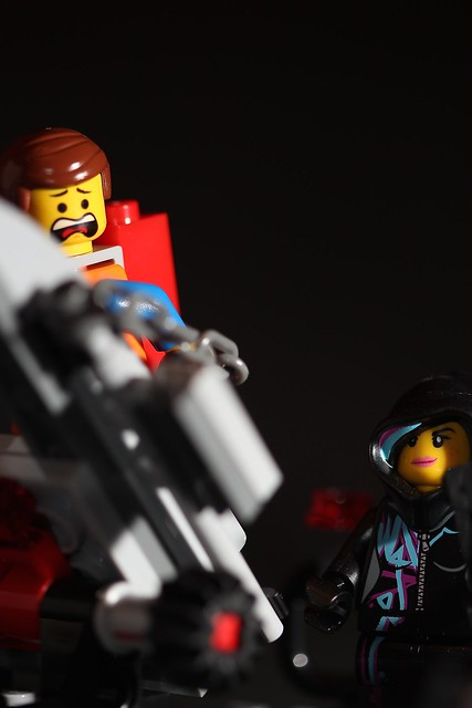 Day 42 - Tied down Emmet looks scared as Wyldstyle has evil glint in her eyes. #lego #awesome #365challenge