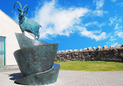 KASHMIR GOAT SCULPTURE. (tommypatto ~ IMAGINE : Not the new Milk Tray man. ) Tags: sculpture wales llandudno greatorme northwales