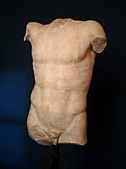 """Torso of Diadoumenos by Polykleitos"" - roman copy half 1st century AD from Neapolis / Naples - Naples Archaeological Museum - ""Augustus and Campania"" - Exhibition at Archaeological Museum of Naples, until May 4, 2015 (Carlo Raso) Tags: italy naples archaeologicalmuseum neapolis polykleitos policleto diadoumenos diadumeno"