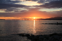 Great sunsets in Vancouver (Eyesplash - Summer was a blast, for 6 million view) Tags: ocean sunset sky reflection beach vancouver clouds rocks pacific ships floating saltwater vancouverisawesome insidevancouver mustbevancouver