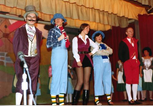 1984 Puss in Boots 06 (from left Ted Hampton,Roy Ritchie,June (Francis) Salt, Joan Ritchie, Ken Fielding)