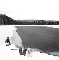 Lake within the Lake (Aaron Bieleck) Tags: blackandwhite bw 6x6 film ice sarah oregon analog square landscape frozen nw 120film pacificnorthwest snowshoeing highkey trilliumlake hasselblad500cm fujiacros100 mthoodwilderness