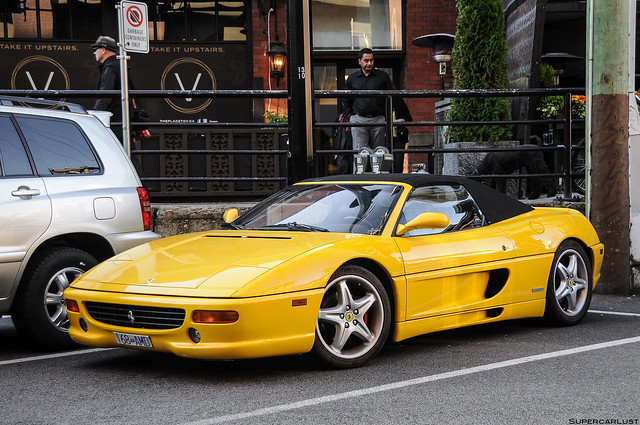 yellow vancouver convertible yaletown supercar roadster ferrarif355spider