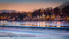 Boathouse Row (betty wiley) Tags: winter light sunset people snow ice philadelphia club reflections river boats lights frozen dusk pennsylvania places row crew rowing bluehour boathouse schuylkill
