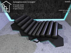 [ht:home] hexagonomic lounger (Corvus Szpiegel) Tags: original fiction food black home lamp leather japan computer table this pc asia neon glow play rice mesh browser furniture sauce decoration pad science hate scifi hexagon sciencefiction soy ht tron decor deco tablet lounger rp minimalist futuristic role roleplay hatethis