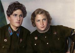Yekaterina Budanova and Lydia Litvyak |      1942 (klimbims) Tags: ww2 1942 redarmy fighterace femalefighterpilot lydialitvyak yekaterinabudanova sovietaces