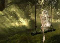 dreaming doll (silly toy) Tags: doll sl secondlife tree forest light dream nature magic flover