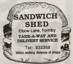 Elbow Lane 1995 Sandwich Shed Take-A-Way And Delivery Service (Formby Civic Society) Tags: formby merseyside 1995 vevj celebrationsouvenirprogramme adverts vevjcelebrationsouvenirprogramme
