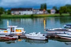 Tournos, France - Tilt-Shift Effect (Jill Clardy) Tags: blur france night river boats harbor stormy filter shore rhone tiltshift tournos creativephotochallenge 4b4a6924edit