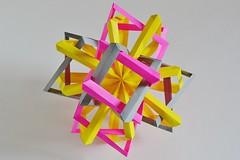 Three Interlocking Irregular Parabiaugmented Elongated Octagonal Dipyramids (Byriah Loper) (Byriah Loper) Tags: origami origamimodular modularorigami modular byriahloper byriah paperfolding paper polyhedron polygon octagonal wireframe compound complex 3octagonalelongateddipyramids geometric