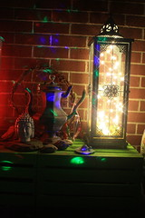 Boho Decor Rave Lanterns (blackunigryphon) Tags: balconydecor patio bohemian bohochic bohostyle bohodecor lantern lanterns disco rave raver raving lights ledlights dreamcatcher buddha stones jade malabeads dslr