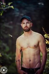 romualdcortes_romain_meribel0005 (cortesromuald) Tags: male homme bear teddy nature naturel foret portrait modele barbu casquette torse green vert