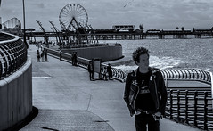 Punk on the prom. (CWhatPhotos) Tags: blue sky skies skys clear day blackpool lancs lancashire north sand beach sun light photographs photograph pics pictures pic picture image images foto fotos photography artistic cwhatphotos that have which with contain olympus omd em10 mk ii esystem four thirds digital camera lens olympusem10mkii view 43 fit mft micro promenade fence prom hol holiday resort england summer big wheel shows tint punk rocker