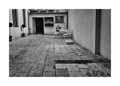 Outside the theater (Jan Dobrovsky) Tags: street people bw contrast theater prague outdoor grain figure document leicaq