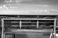 relax time. (-gregg-) Tags: bw bench sky clouds relax lines
