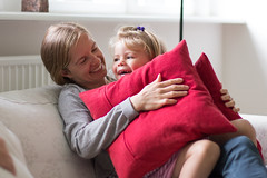 Ingeborg & Astrid (David O. Andersen) Tags: girl child kid smile smiling happy cute beautiful love family mother daughter hug hugging pillows pillowfight weekend laugh laughing home canon6d 50mm14