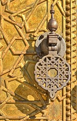 Gate, Royal Palce, Fes, Morocco (ott.geoffrey) Tags: gate handle door doorknocker detail gold royalpalace fes morocco design