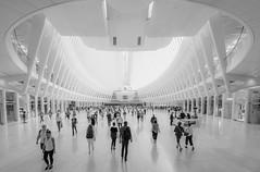 Commuters, New York (urbanexpl0rer) Tags: oculus newyorkcity newyork people commuting blackandwhite bnw symmetry architecture modernarchitecture nyc ny hallway