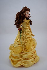 2016 Singing Belle Swaps Outfits With 2010 LE Belle - Standing - In LE Belle's Outfit - Full Right Front View (drj1828) Tags: us disneystore belle beautyandthebeast singing 16inch 16 2016 2010 comparison limitededition 17inch doll collectible animated posable yellow gown swappingoutfits ballgown