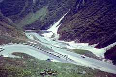 Italian Alps (Say_No_To_Turtles) Tags: foundphotograph 1960s alps mountains winding road cars snow