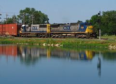 YN2 Reflections (GLC 392) Tags: csx c408w d840cw emd sd60 7336 8558 deshler oh ohio reflection reservoir cpl color position lights yn2 paint signal train railroad railway