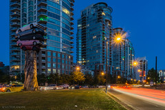 Trans Am Totem 2 (maestro17ca) Tags: longexposure lowermainland vancouver lighttrails totempole transamtotem art structure architecture condos cityscape traffic quebecst pacificblvd lights twilight britishcolumbia bluehour nightphotography skyline sonya6000 median