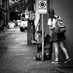 Backstreet (. Jianwei .) Tags: street girl jianwei back urban backstreet monochrome vancouver