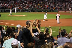 Adorable high-five fail after Hanley homer (ConfessionalPoet) Tags: redsox baseball fenwaypark fans highfive fail hanleyramirez firstbaseman 1b baserunner homerun trot chrisdavis baltimoreorioles vanceworley reliefpitcher rhp