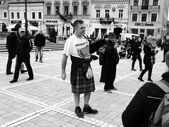 Scottish Bagpipes (Miranda Ruiter) Tags: scottish romania bagpipe blackandwhite streetphotography brasov square