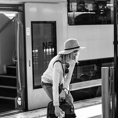 Heavy Load !! (star79322) Tags: sydney steveroebuckphotography scene street hat blackandwhite blond train transport girl 2016
