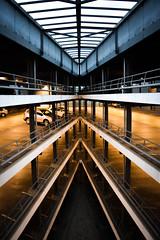 Car park (*JESSE HEISE*) Tags: fluchtpunkt abstract parkhaus orange car hight city edge concrete