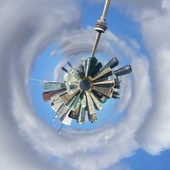 Toronto Tiny Planet (euanwhite) Tags: cntower sky urban city circle tinyplanet toronto photochallenge2016