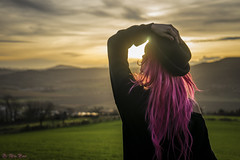 Hold On To It (Dr. Alex Penot) Tags: pink sunset france green girl field hat hair golden back model country hour mysterious