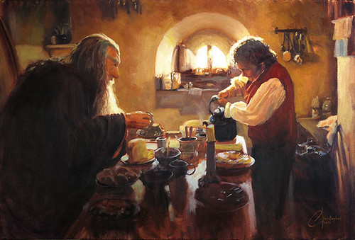 Lord of the Rings - LOTR - Gandalf and Bilbo Having Tea