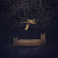 caught in a dream (brookeshaden) Tags: field fairytale photography hawaii bed vines darkness sleep surrealism fineart dream surreal maui dreaming nighttime hana hanging conceptual whimsical cocoon nightgown darkart brookeshaden