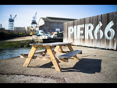 superfund picnic (sebboh) Tags: sanfrancisco table picnic bokeh cranes pier66 sonyrx1 carlzeiss35mmf2sonnar