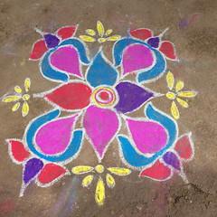 Kolam in New years day 2015 (@c_d@) Tags: hampi southindia kolam iphone