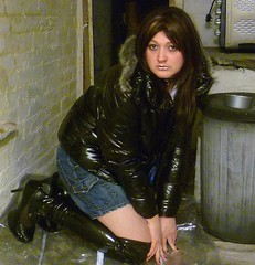 schoolie tart (charlotteyorkscd) Tags: tv boots cd makeup transvestite mascara lipstick brunette schoolgirl crossdresser slutty eyeliner thighboots downjacket jailbait schoolie puffajacket silverlipstick