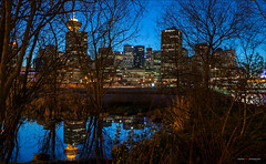 Pond Reflections (Clayton Perry Photoworks) Tags: winter skyline night vancouver reflections lights crabpark explorebc explorecanada createarealavailablebeach